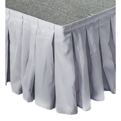 "Ameristage Box-Pleat Stage Skirt, 8x16"" Grey (Overstock) portable stage skirting, velcro, hook and loop, 8x16, 8 x 16, 16 inch stage skirt, clearance, sale, gray, overstock"