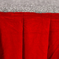 "Ameristage Box-Pleat VELVET Stage Skirt, 8x25"" Red (Overstock) portable stage skirting, velcro, hook and loop, 8x25, 8 x 25, 25 inch stage skirt, clearance, sale, red, overstock"
