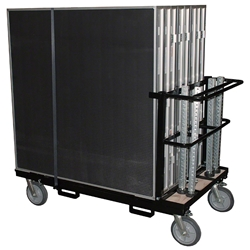 Biljax AS2100 8x16 Portable Stage & Storage Cart Package (4x4 Decks) Biljax, 4x4, modular, modular staging, stage cart, package, stage package, rolling storage, 8x16, 16x8, black poly