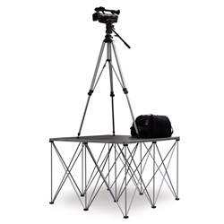 IntelliStage Lightweight 4'x4' Folding Camera Platform with Riser (Ground Shippable) 4x4, 48x48 modular stage, camera riser, camera platform, spider pod, spiderpod, tripod system