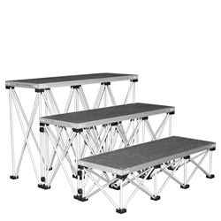 "IntelliStage Lightweight 4 Wide Step Kit for 32"" High Stages IS4STEP32C, IS4STEP32T, IS4STEP32I, stage steps, stairs"