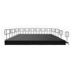 IntelliStage Lightweight 12x24 Deluxe Stage System with Guardrails, Steps and Skirts 12x24, 24x12, skirting, steps, stairs, guard rails, istage122416, istage122424, istage122432, 288 square foot stage