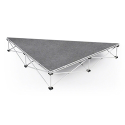 IntelliStage Lightweight 3 90-Degree Right Triangle Portable Stage Unit isosceles triangle platform, triangular, angled, stage unit, portable staging, portable stage, stage kit, 90-degree, right triangle stage