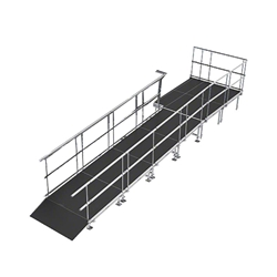 "Universal Straight ADA Wheelchair Ramp with Landing for 16"" High Stages universal ramp, universal wheelchair ramp, universal ada ramp, ada ramp, 16 inch stage ramp, 16 in wheelchair ramp, portable stage ramp"