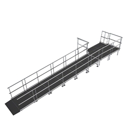 "Universal Straight ADA Wheelchair Ramp with Landing for 24"" High Stages universal ramp, universal wheelchair ramp, universal ada ramp, ada ramp, 24 inch stage ramp, 24 in wheelchair ramp, portable stage ramp"