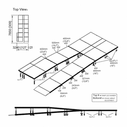 "Universal Switchback ADA Wheelchair Ramp with Landing for 24"" High Stages universal ramp, universal wheelchair ramp, universal ada ramp, ada ramp, 24 inch stage ramp, 24 in wheelchair ramp, portable stage ramp"