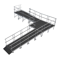 "Universal 90-Degree Turn ADA Wheelchair Ramp with Landing for 24"" High Stages universal ramp, universal wheelchair ramp, universal ada ramp, ada ramp, 24 inch stage ramp, 24 in wheelchair ramp, portable stage ramp, 90-degree turn ramp, 90 degree wheelchair ramp"