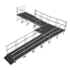 "Universal 90-Degree Turn ADA Wheelchair Ramp with Landing for 24"" High Stages"