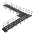 "Universal 90-Degree Turn ADA Wheelchair Ramp with Landing for 32"" High Stages"