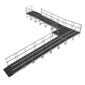"Universal 90-Degree Turn ADA Wheelchair Ramp with Landing for 40"" High Stages"