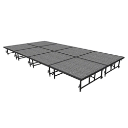 "Midwest Folding 8x16 TransFold Dual-Height Portable Stage Kit, 16""-24"" High  8x16, 16x8, 8 x 16 staging platform, stage deck, dual height, adjustable height"