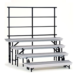 National Public Seating TransPort 4-Level Tapered Choral Riser and Guard Rail Bundle choral risers, band risers, school risers, tapered risers, wedge risers, angled risers, transport risers, trans port risers, choir stage risers