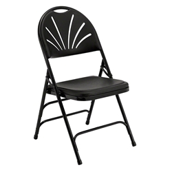 National Public Seating 1110 Deluxe Fan Back Folding Chair, Black folding chairs, 1100 series, plastic chairs, lightweight, polyfold