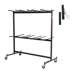 National Public Seating 84-EXT8 Double-Tier Folding Chair Dolly w/High Back Chair Extension Bar folding chair cart, chair trolley, chair dolley, folding chair truck, checkerette, hanging coat rack, coat check, folding chair truck, transport, rolling, 84, 84-60, EXT8, EXT-8, 84-EXT-8
