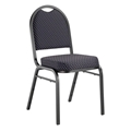National Public Seating 9264-BT Premium Fabric Stack Chair, Diamond Navy/Black Sandtex