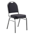 National Public Seating 9264-SV Premium Fabric Stack Chair, Diamond Navy/Silvervein