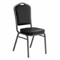 National Public Seating 9310-SV Premium Vinyl Stack Chair, Panther Black/Silvervein