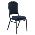National Public Seating 9354-SV Premium Fabric Stack Chair, Midnight Blue/Silvervein