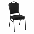 National Public Seating 9360-BT Premium Fabric Stack Chair, Ebony Black/ Black Sandtex