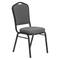 National Public Seating 9362-BT Premium Fabric Stack Chair, Natural Greystone/Black Sandtex