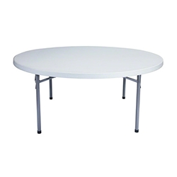 "National Public Seating BT71R 71"" Heavy-Duty Round Folding Table, Speckled Grey btr, round, folding table"