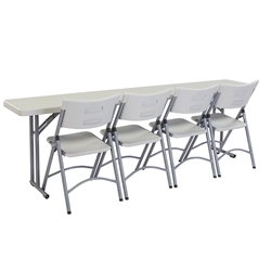 "National Public Seating 18""x96"" Folding Seminar Table & Chairs Package bt1896, rectangle, seminar table, 18x96, 96x18, chair package, table chair package, table with chairs, 600 series, nps 600"