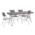 "National Public Seating 30""x72"" Folding Table & Chairs Package, Charcoal Slate"
