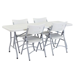 "National Public Seating 30""x72"" Folding Table & Chairs Package bt3000, rectangle, folding table, 72x30, rectangular table, table with chairs, table and chairs, banquet, training"