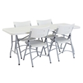 "National Public Seating 30""x72"" Folding Table & Chairs Package, Speckled Grey"