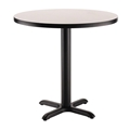 "National Public Seating Café Table with X Base, 36"" Round with HPL Top, 30"" High"