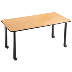 "National Public Seating IT-RC-OK-AH 30""x60"" Innovator Table, Rectangular, Height Adjustable, Banister Oak it-rc-ok-ah, innovator table, 30x60, 60x30, 30 x 60, 60 x 30, height adjustable table, table with casters"
