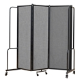 National Public Seating Portable Room Divider, 6' Wide, Grey Fabric
