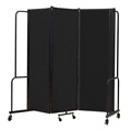 National Public Seating Portable Room Divider, 6' Wide, Black Fabric
