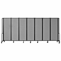 National Public Seating Portable Room Divider, 13.5' Wide, Grey Fabric