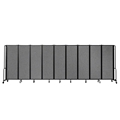 National Public Seating Portable Room Divider, 17.5' Wide, Grey Fabric