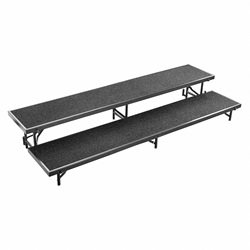 National Public Seating RS2LC 2-Level 8 Straight Standing Choral Riser, Carpet choral risers, band risers, school risers, straight risers, choir stage risers, standing riser, 2 tier, 2 level