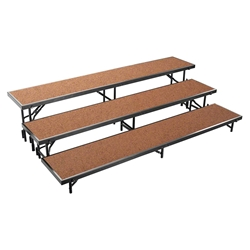 National Public Seating RS3LHB 3-Level 8 Straight Standing Choral Riser, Hardboard choral risers, band risers, school risers, straight risers, choir stage risers, standing riser, 3 tier, 3 level