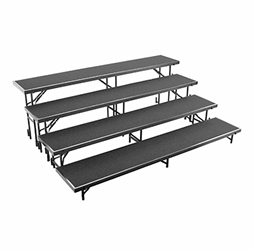 National Public Seating RS4LC 4-Level 8 Straight Standing Choral Riser, Carpet choral risers, band risers, school risers, straight risers, choir stage risers, standing riser, 4 tier, 4 level