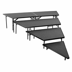 "National Public Seating SPST36C/SP3632C 4-Level Seated Riser Stage Pie Set, Carpet (36"" Deep Tiers) choral risers, band risers, school risers, seated risers, angle, wedge, NPS, national public seating"