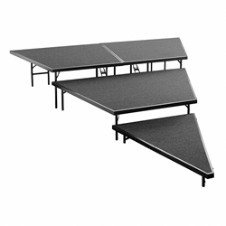 "National Public Seating SPST48C 3-Level Seated Riser Stage Pie Set, Carpet (48"" Deep Tiers) choral risers, band risers, school risers, seated risers, angle, wedge, SPST48C-02, SPST48C-04, SPST48C-10, SPST48C-40"