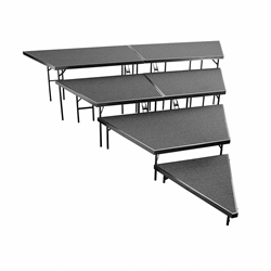 "National Public Seating SPST48C/SP4832C 4-Level Seated Riser Stage Pie Set, Carpet (48"" Deep Tiers) choral risers, band risers, school risers, seated risers, angle, wedge"