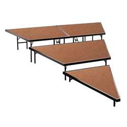 "National Public Seating SPST48HB 3-Level Seated Riser Stage Pie Set, Hardboard (48"" Deep Tiers) choral risers, band risers, school risers, seated risers, angle, wedge"