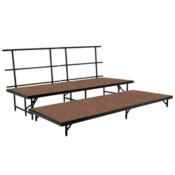 "National Public Seating SS2T48HB 2-Level Seated Riser Straight Stage Set, Hardboard (48"" Deep Tiers) choral risers, band risers, school risers, seated risers"