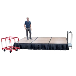 TotalPackage™ Dual-Height Portable Hardboard Stage Kit with Wheels, 8x12 8x12, 12x8, folding stage, cart, storage, portable stage kit, adjustable height, total package, transfix