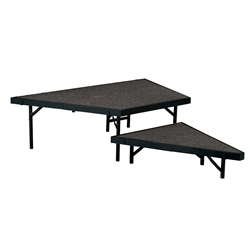 "National Public Seating SPS2T48C 2-Level Seated Riser Stage Pie Set, Carpet (48"" Deep Tiers) choral risers, band risers, school risers, seated risers, angle, wedge, 2 level"