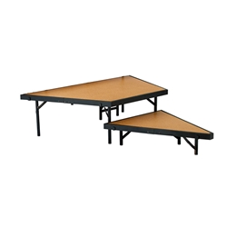 "National Public Seating SPS2T48HB 2-Level Seated Riser Stage Pie Set, Hardboard (48"" Deep Tiers) choral risers, band risers, school risers, seated risers, angle, wedge"