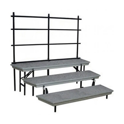 National Public Seating TransPort 3-Level Tapered Choral Riser and Guard Rail Bundle standing risers, band risers, school risers, straight risers, wedge risers, angled risers, transport risers, trans port risers, choir stage risers