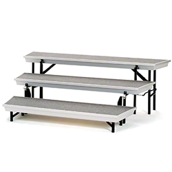 National Public Seating TPR72 TransPort 3-Level Tapered Choral Riser choral risers, band risers, school risers, tapered risers, wedge risers, angled risers, transport risers, trans port risers, choir stage risers, gray