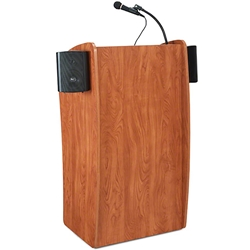 Oklahoma Sound 611S Vision Lectern with Sound, Cherry lectern, wired podium, wired lectern, podium with microphone, podium with screen, podium speakers