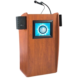 Oklahoma Sound 612S-CH Vision Lectern with Sound and Screen, Cherry  lectern, wired podium, wired lectern, podium with microphone, podium with screen, podium speakers, lcd screen